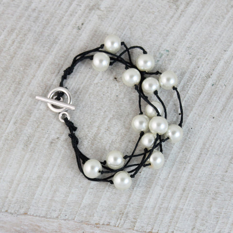 Seasons Jewelry Pearl 5 Strand Bracelet (Black)