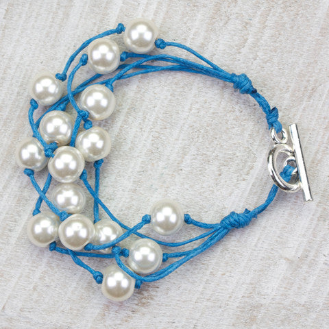 Seasons Jewelry Pearl and Blue Cord 5 Strand Gameday Bracelet