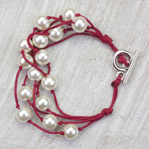 Seasons Jewelry Pearl and Crimson Cord 5 Strand Gameday Bracelet