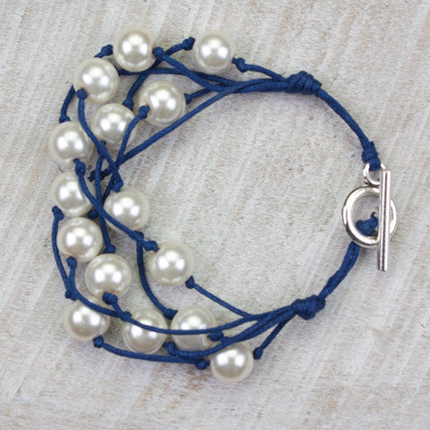 Seasons Jewelry Pearl and Navy Cord 5 Strand Gameday Bracelet