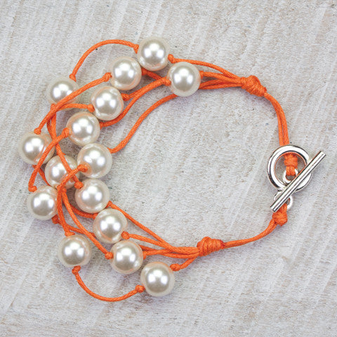 Seasons Jewelry Pearl and Orange Cord 5 Strand Gameday Bracelet