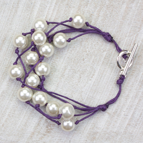 Seasons Jewelry Pearl and Purple Cord 5 Strand Gameday Bracelet