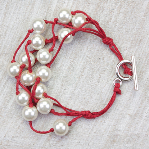 Seasons Jewelry Pearl and Red Cord 5 Strand Gameday Bracelet