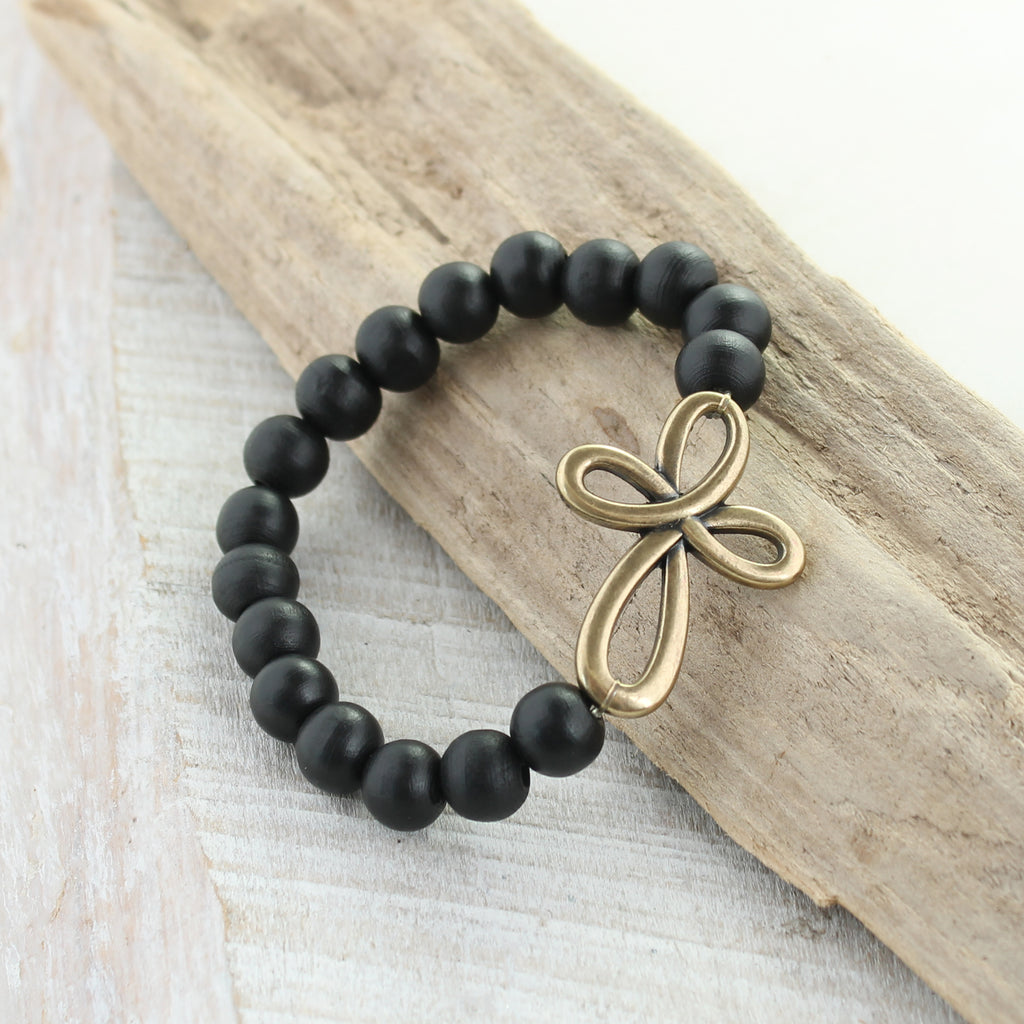 Vintage Style Cross Knot & Black Wood Bead Stretch Bracelet