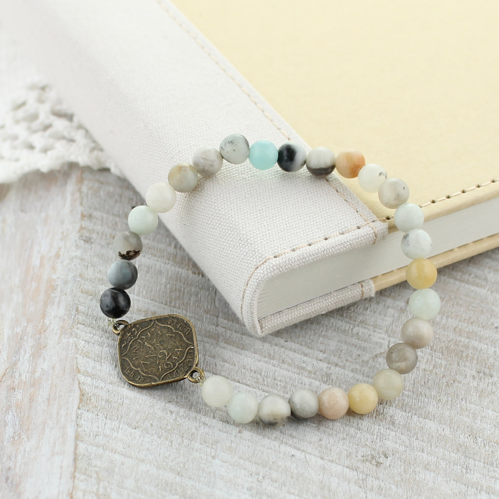 Vintage Style Coin & Stone Bead Stretch Bracelet