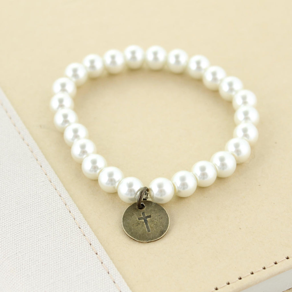 Pearl Stretch Bracelet w/ Cross Charm