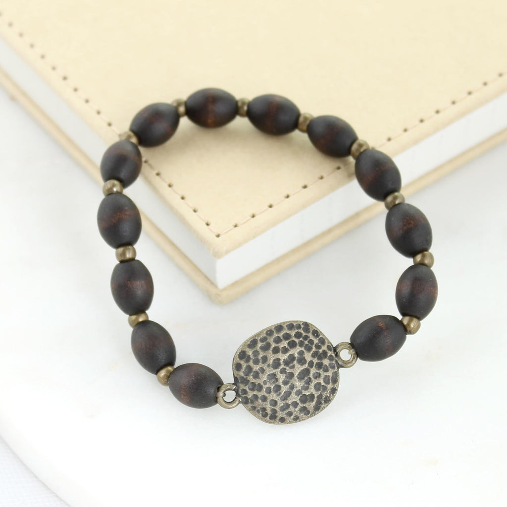 Dark Wood Bead Stretch Bracelet w/ Vintage Style Charm