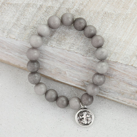 Gray Stone Bracelet with Silver Cross