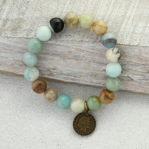Natural Stone Bracelet with Vintage Style Coin