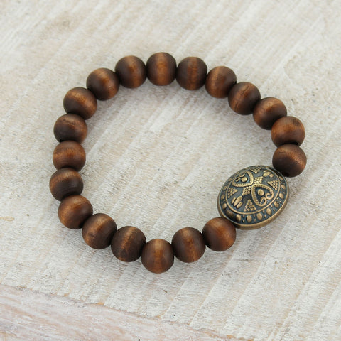 Brown Wood Bead Bracelet