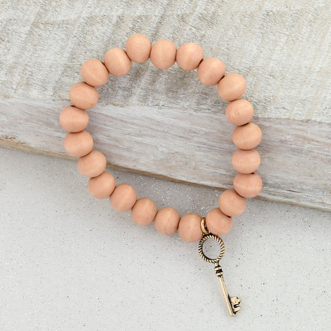 Blush Wood Bead Stretch Bracelet