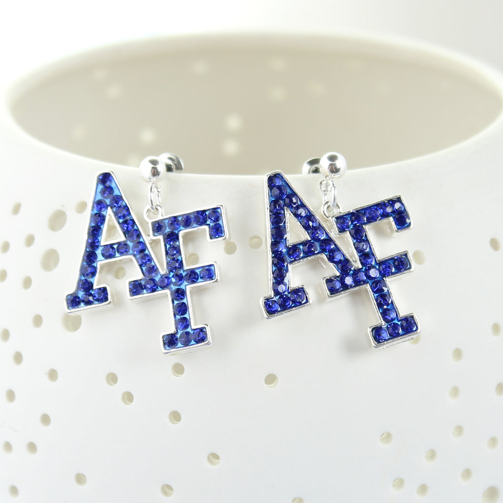 Air Force Crystal Logo Earrings