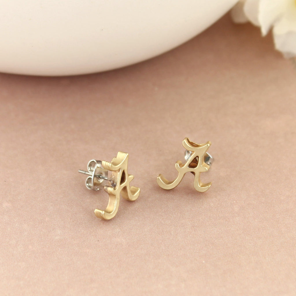 Alabama Matte Gold Logo Stud Earrings