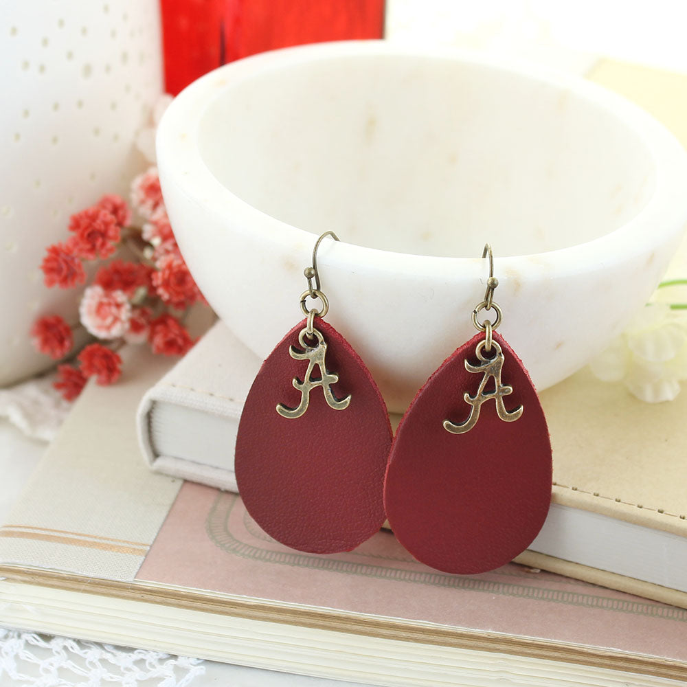 Alabama Vintage Style Logo Leather Teardrop Earrings