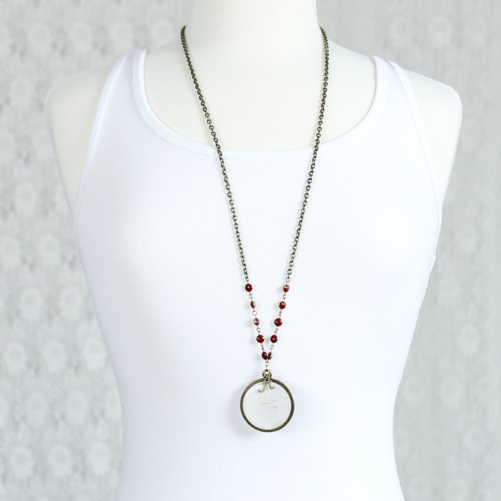 "34"" Alabama Vintage Style Logo and Map Necklace"