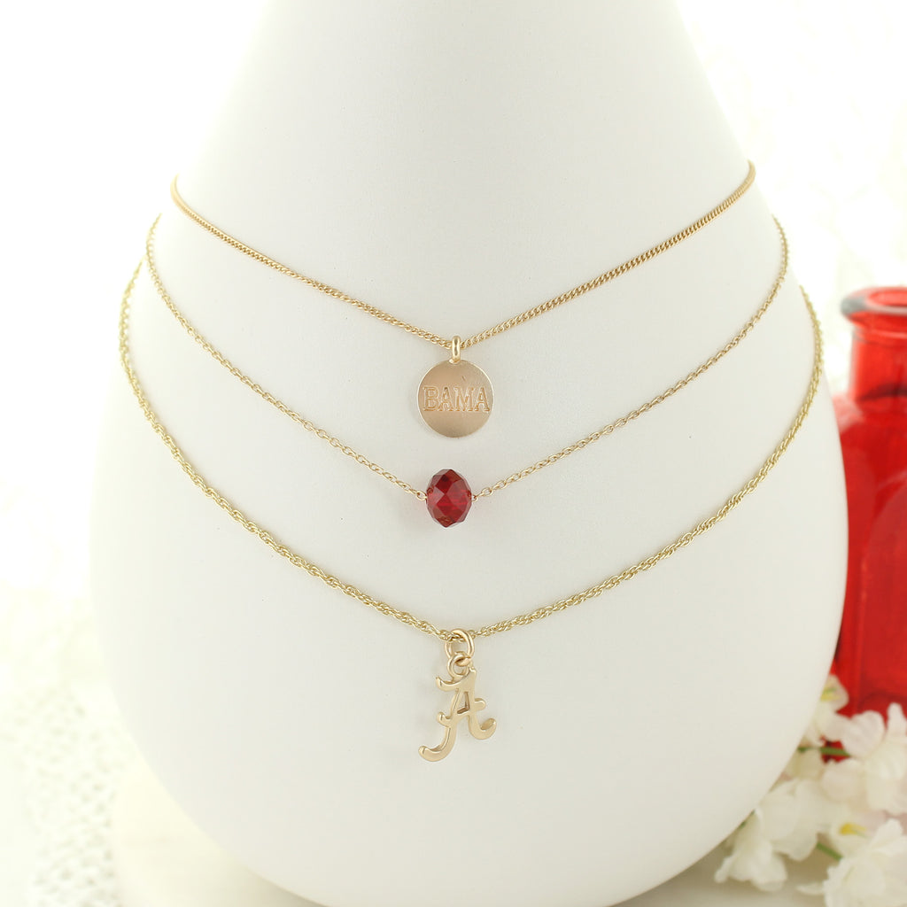 "16"" - 20"" Alabama Matte Gold Logo Trio Necklace Set"