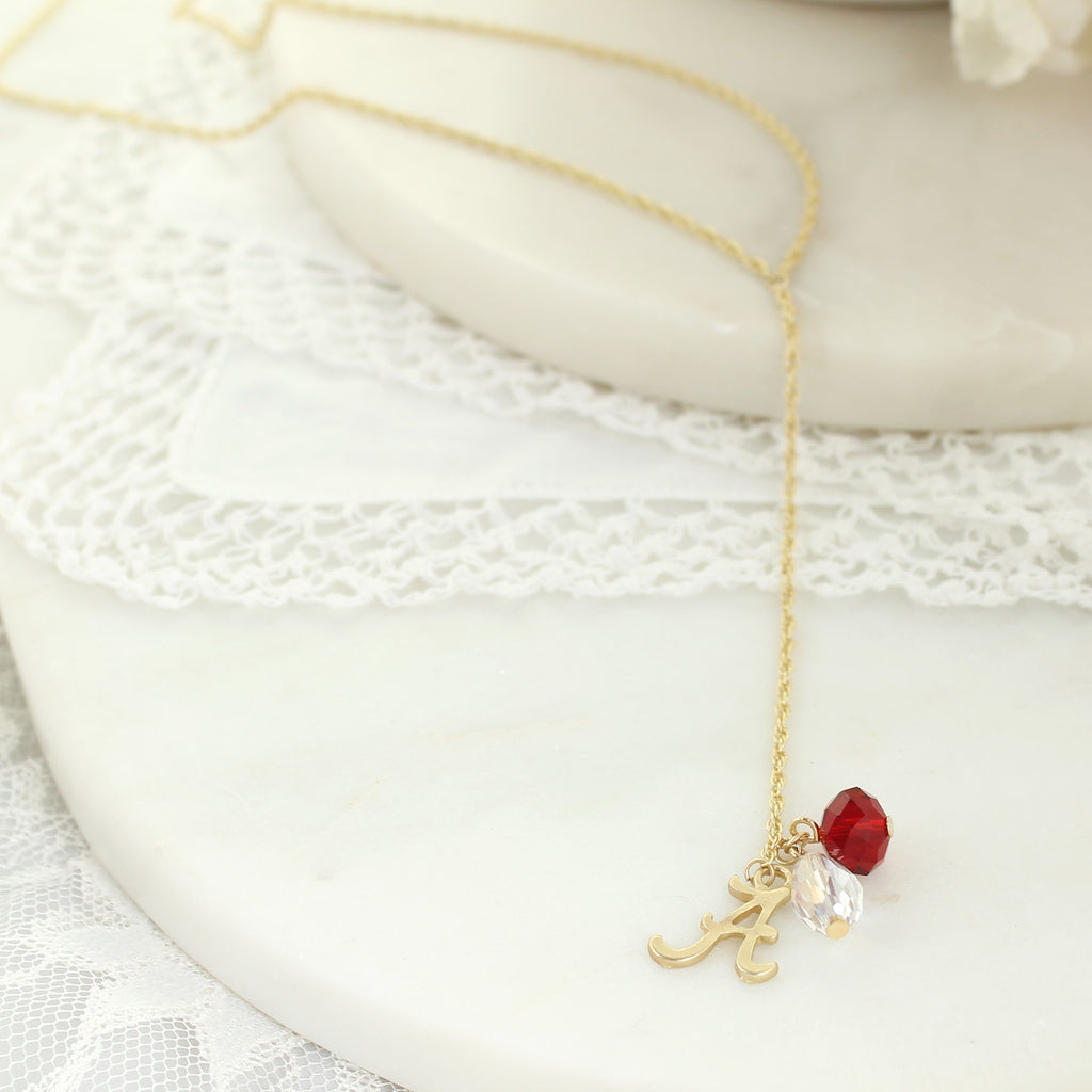 "32"" Alabama Matte Gold Logo Y-Necklace"