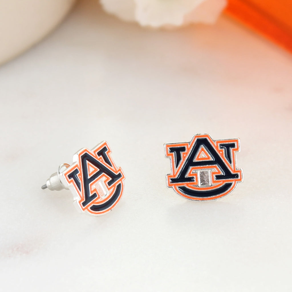 Auburn Enamel Logo Stud Earrings