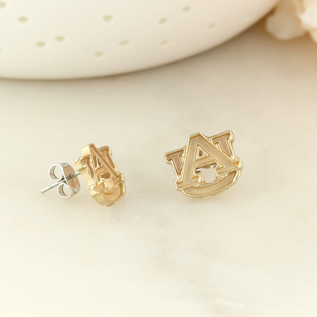 Auburn Matte Gold Logo Stud Earrings