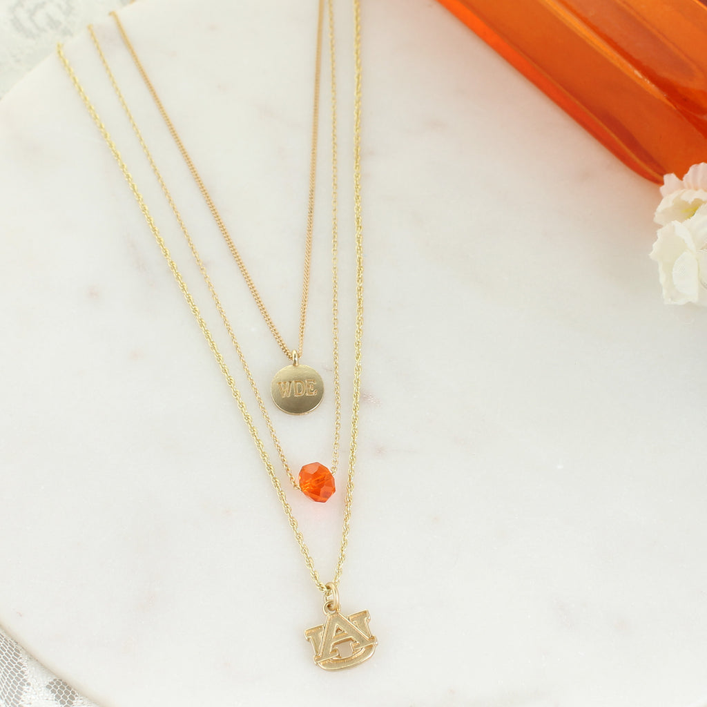 "16"" - 20"" Auburn Matte Gold Logo Trio Necklace Set"