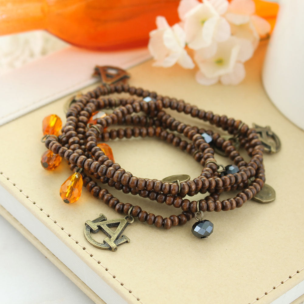 Auburn Wood Bead Stretch Necklace/Bracelet