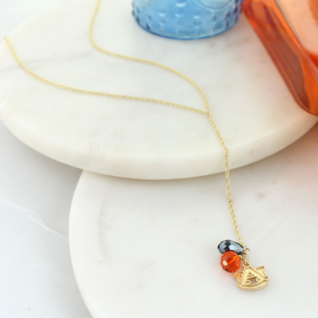 "32"" Auburn Matte Gold Logo Y-Necklace"