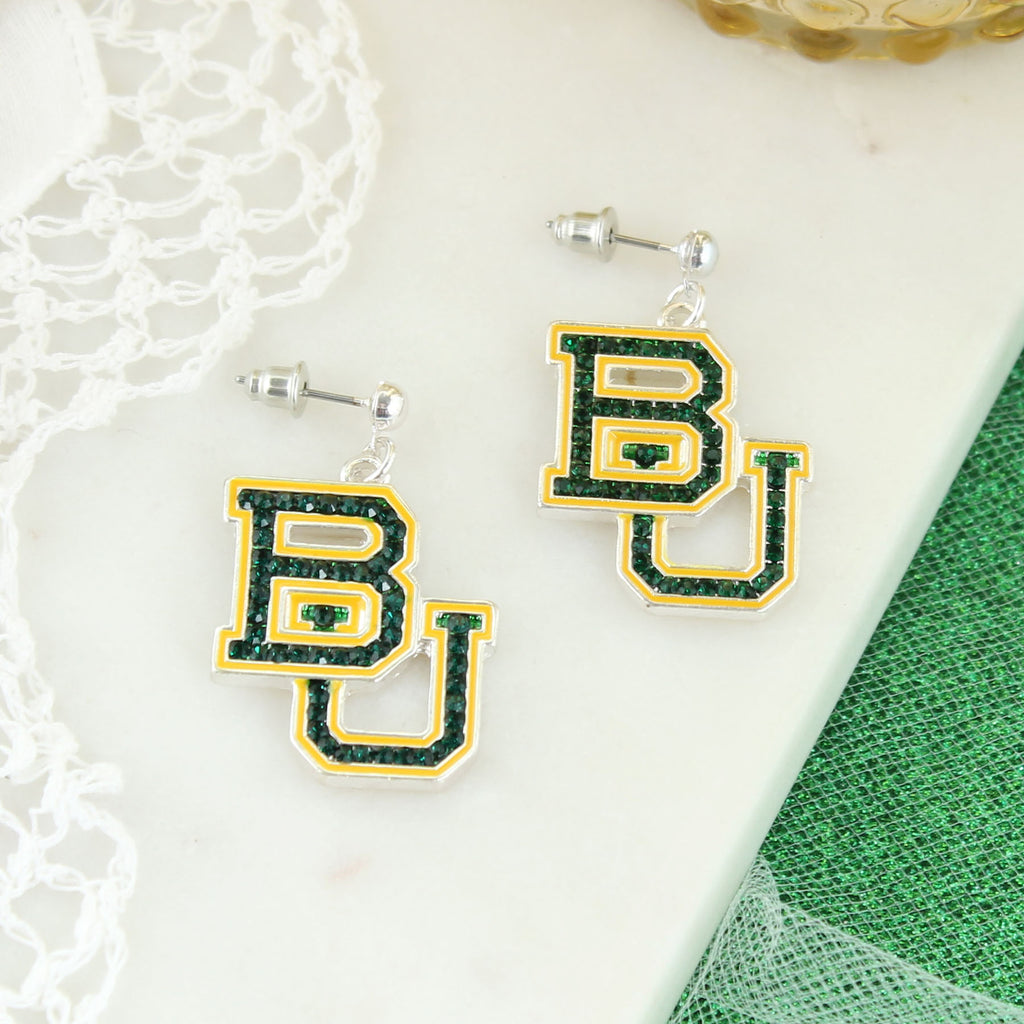 Baylor Crystal Logo Earrings