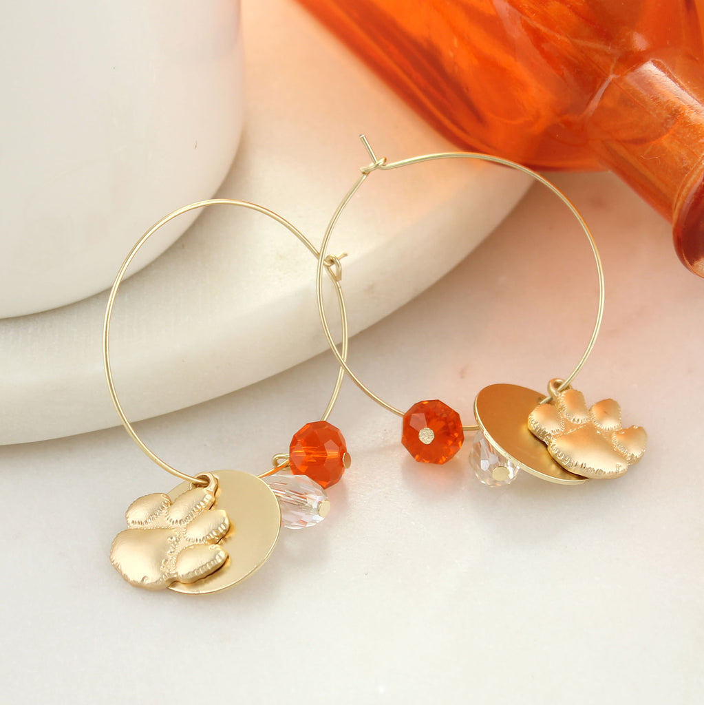 Clemson Matte Gold Logo Hoop Earrings