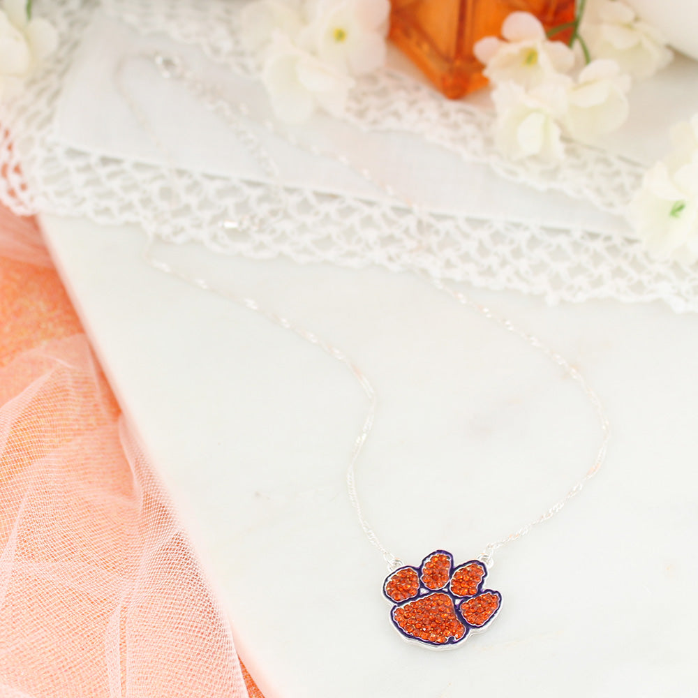 Clemson Crystal Logo Necklace