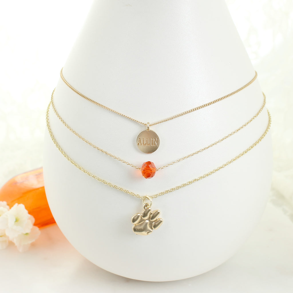 "16"" - 20"" Clemson Matte Gold Logo Trio Necklace Set"