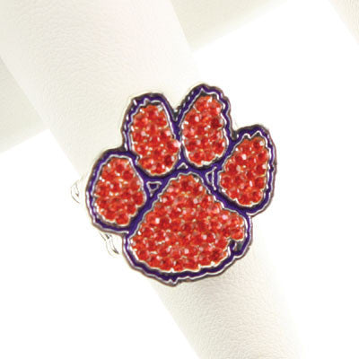Seasons Jewelry Clemson Crystal Logo Stretch Ring