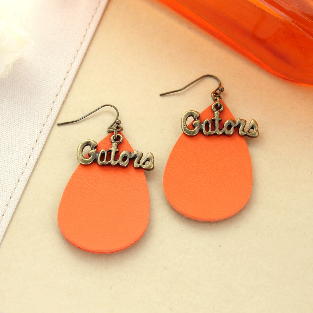 Florida Vintage Style Logo Leather Teardrop Earrings