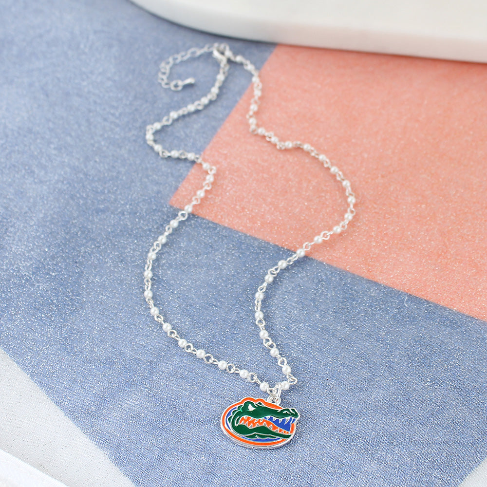 Florida Enamel Logo & Pearl Necklace