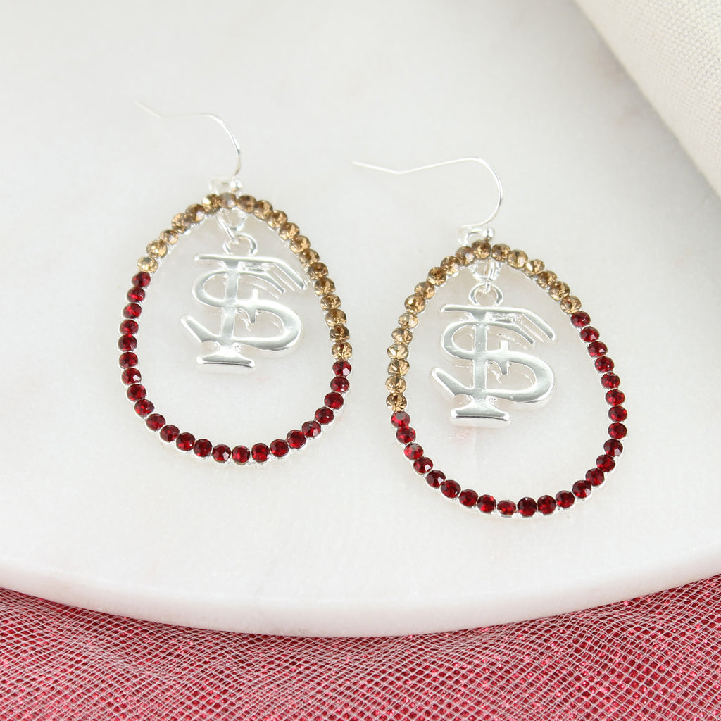 Florida State Crystal Loop Earrings