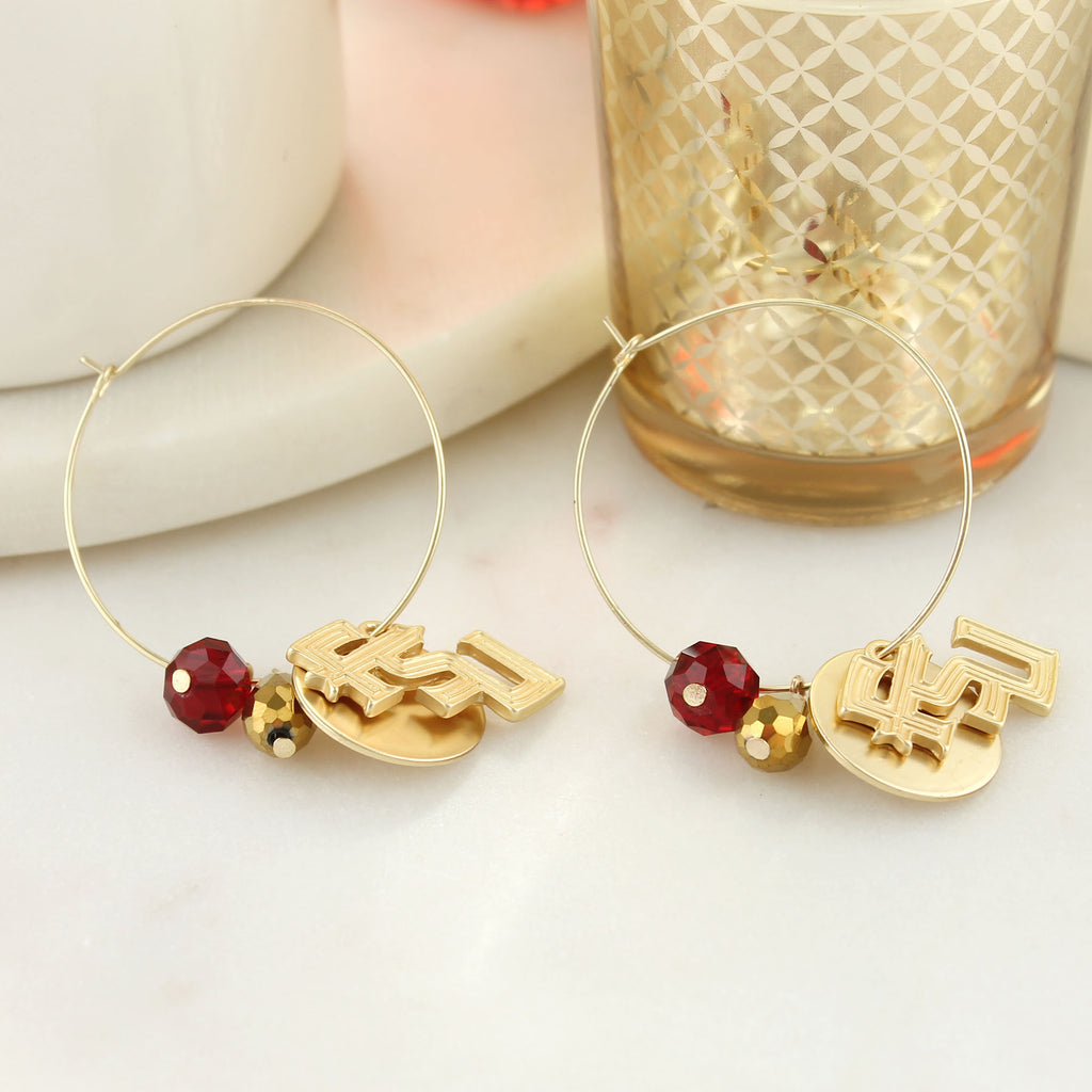 Florida State Matte Gold Logo Hoop Earrings