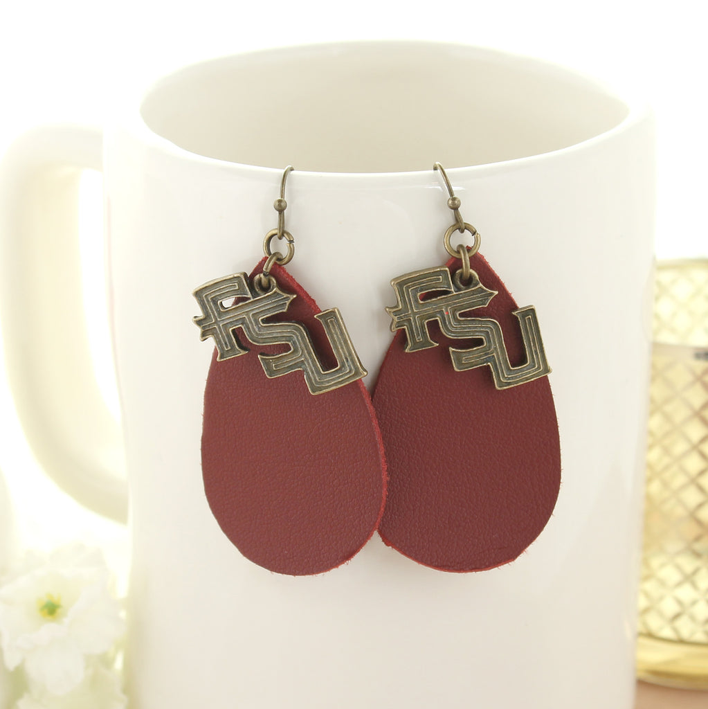 Florida State Vintage Style Logo Leather Teardrop Earrings