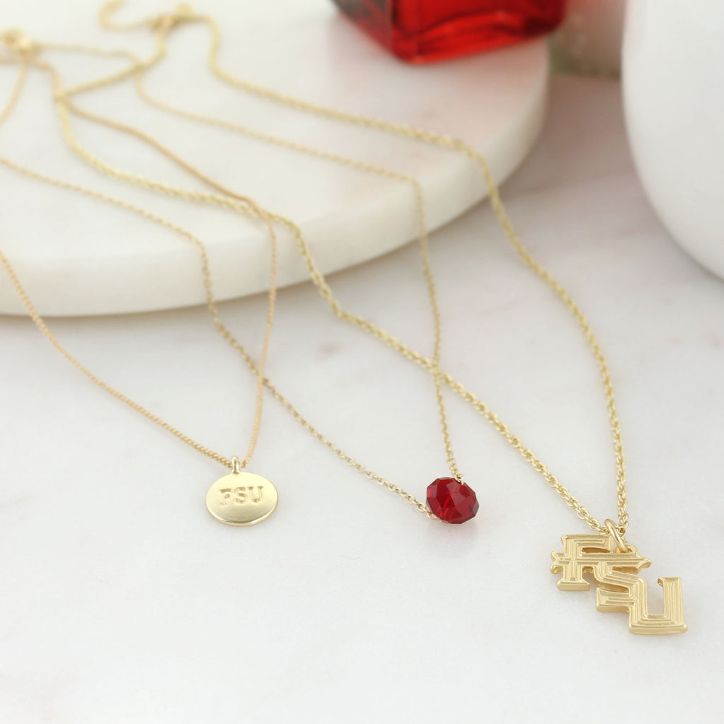 "16"" - 20"" Florida State Matte Gold Logo Trio Necklace"
