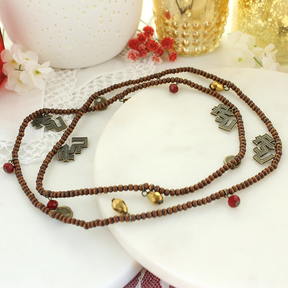 Florida State Wood Bead Stretch Necklace/Bracelet