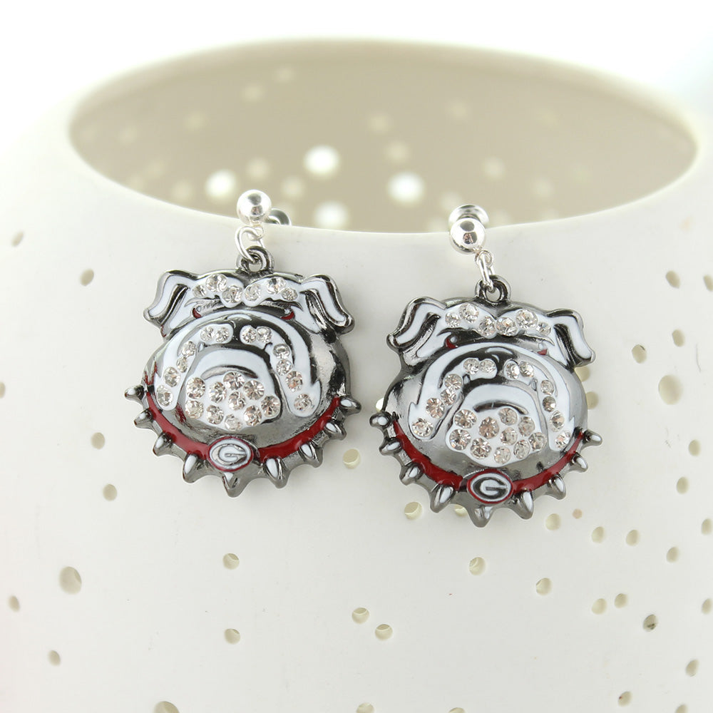 Georgia Bulldogs Crystal Logo Earrings