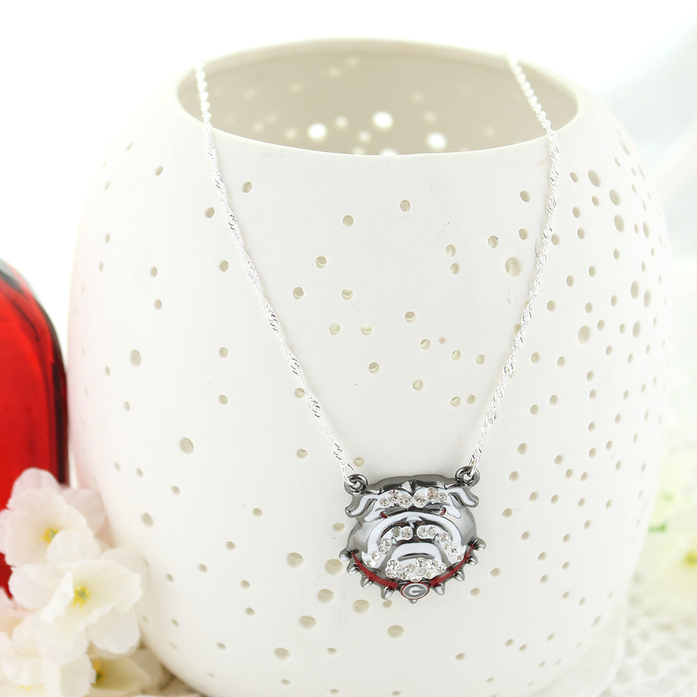 "16"" Georgia Bulldogs Crystal Logo Necklace"
