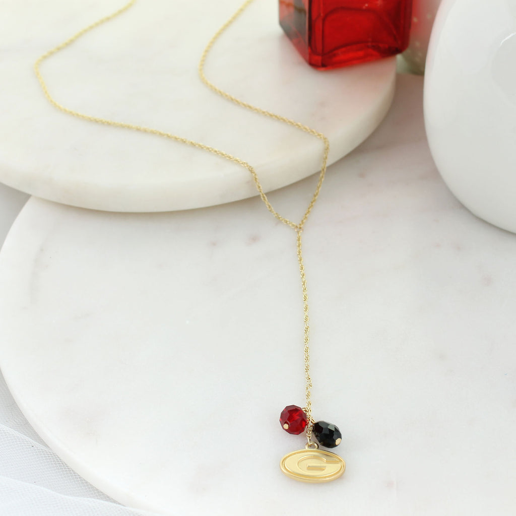 "32"" Georgia Matte Gold Logo Y-Necklace"