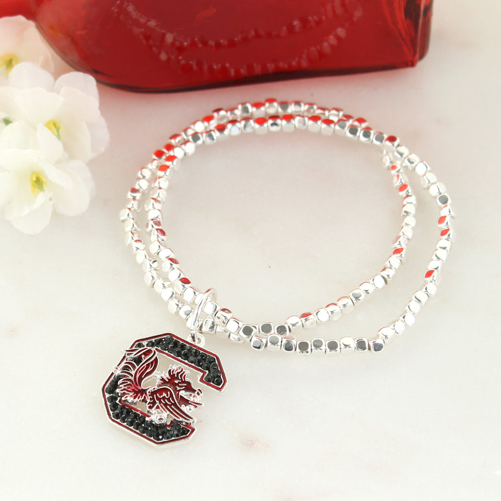 South Carolina Crystal Logo Stretch Bracelet
