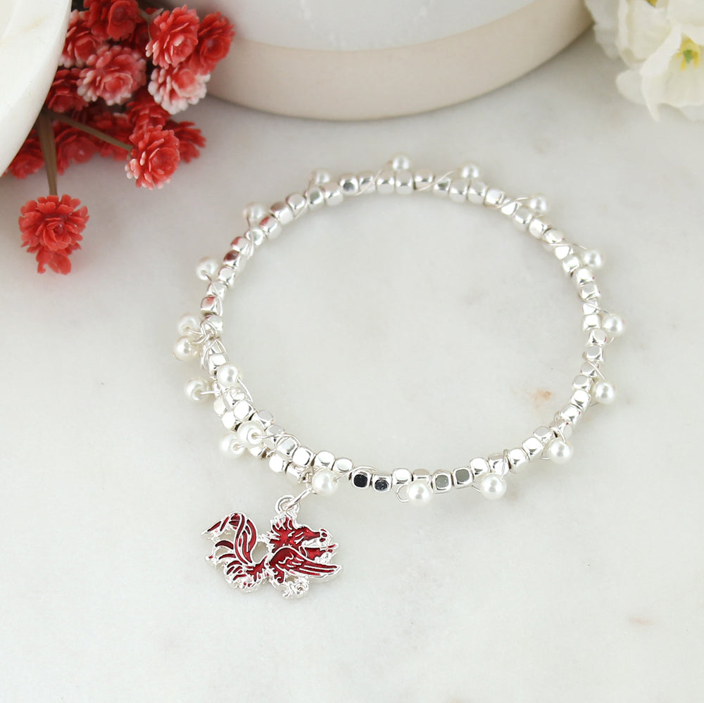 South Carolina Enamel Logo & Pearl Bracelet