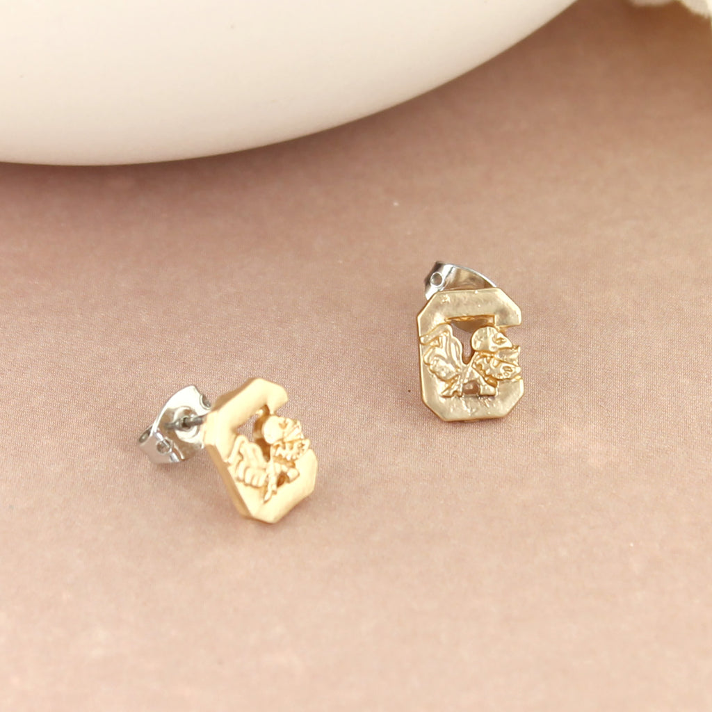 South Carolina Matte Gold Logo Stud Earrings