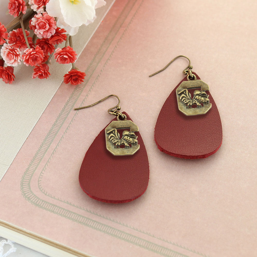 South Carolina Vintage Style Logo Leather Teardrop Earrings