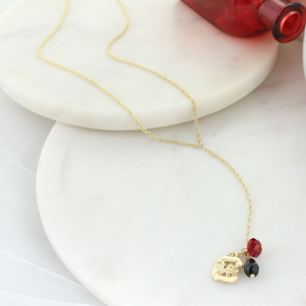 "32"" South Carolina Matte Gold Logo Y-Necklace"