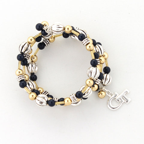 Georgia Tech Logo Beaded Wrap Bracelet