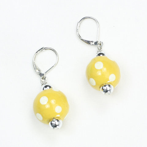 Georgia Tech Polka Dots Wood Bead Earrings