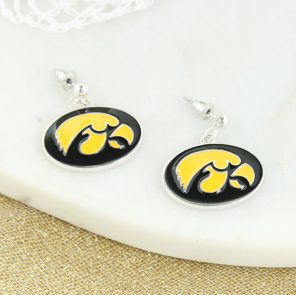 Iowa Enamel Logo Earrings