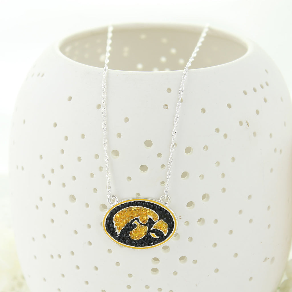 Iowa Crystal Logo 17 inch Necklace